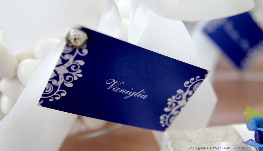 Cartoncini per confettata Blu e pizzo