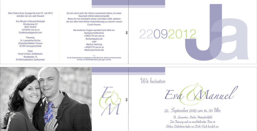 Hochzeitskarte lang 4-seitig, 21x10.5 cm.,  3-farbig. Foto: AKHOF-Print AG.