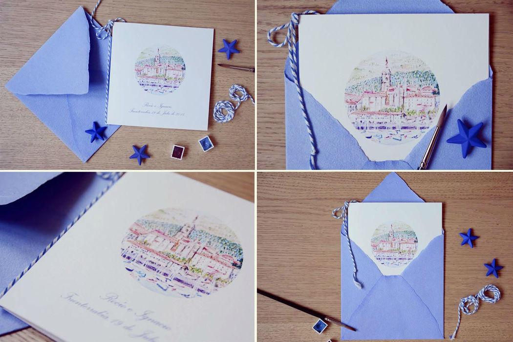 Invitación personalizada con motivo pintado en acuarela del pueblo dónde se celebra la boda.