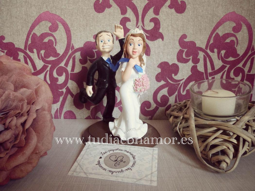 Figuras de novios para el pastel, divertida y original