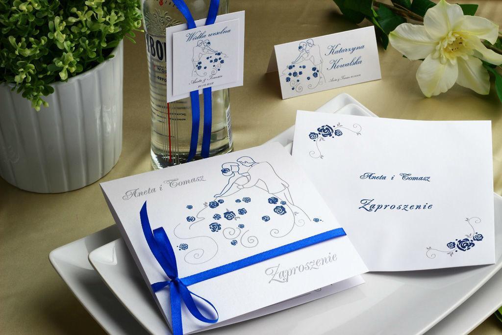 Niebieskie zaproszenia ślubne - Pierwszy taniec