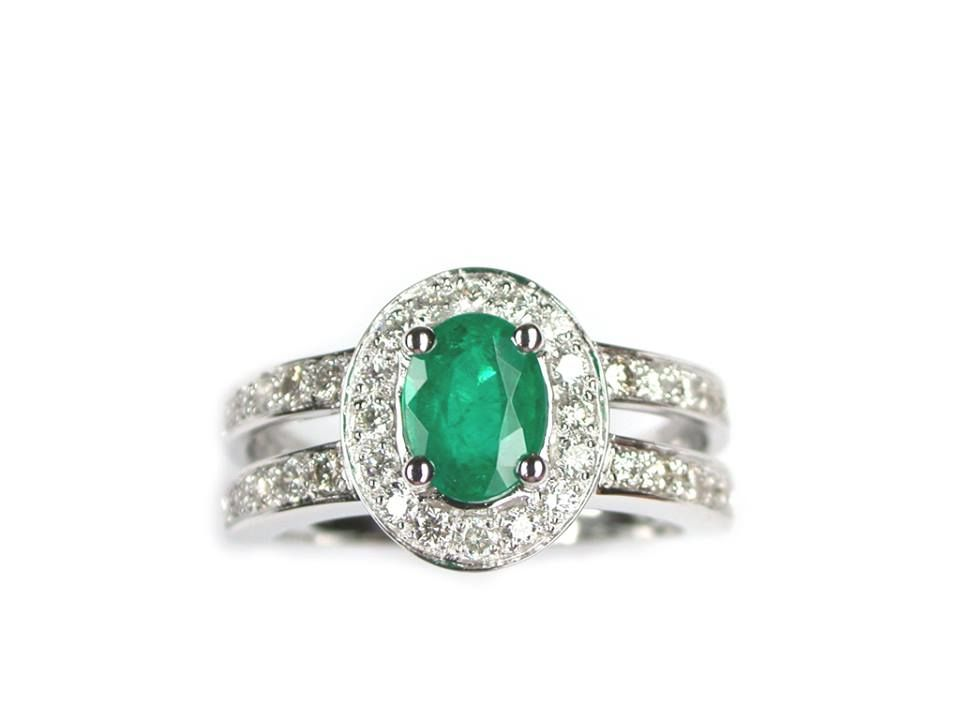 Bague Diamants et Emeraude-Bijouterie Mohedano