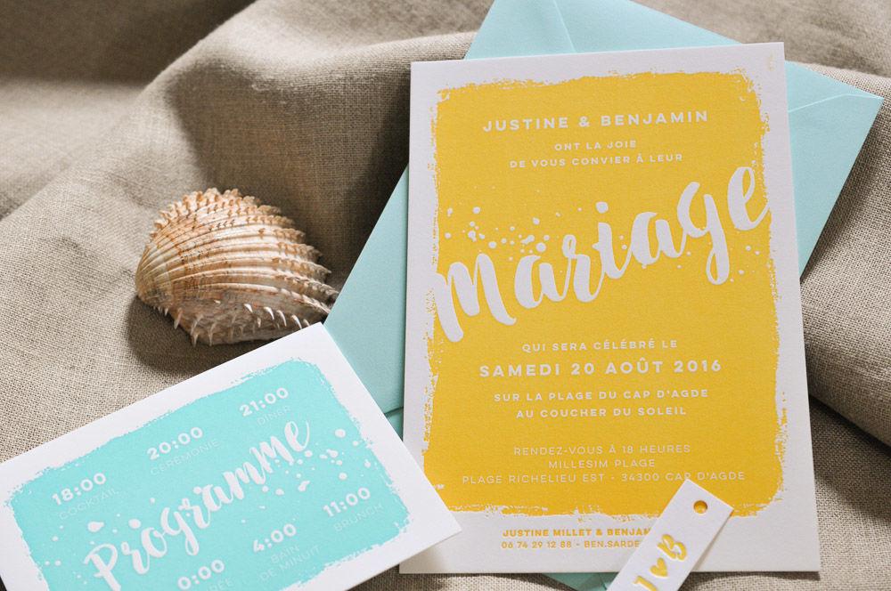 Faire-part de mariage Bain de Soleil, en Letterpress jaune et bleu outremer