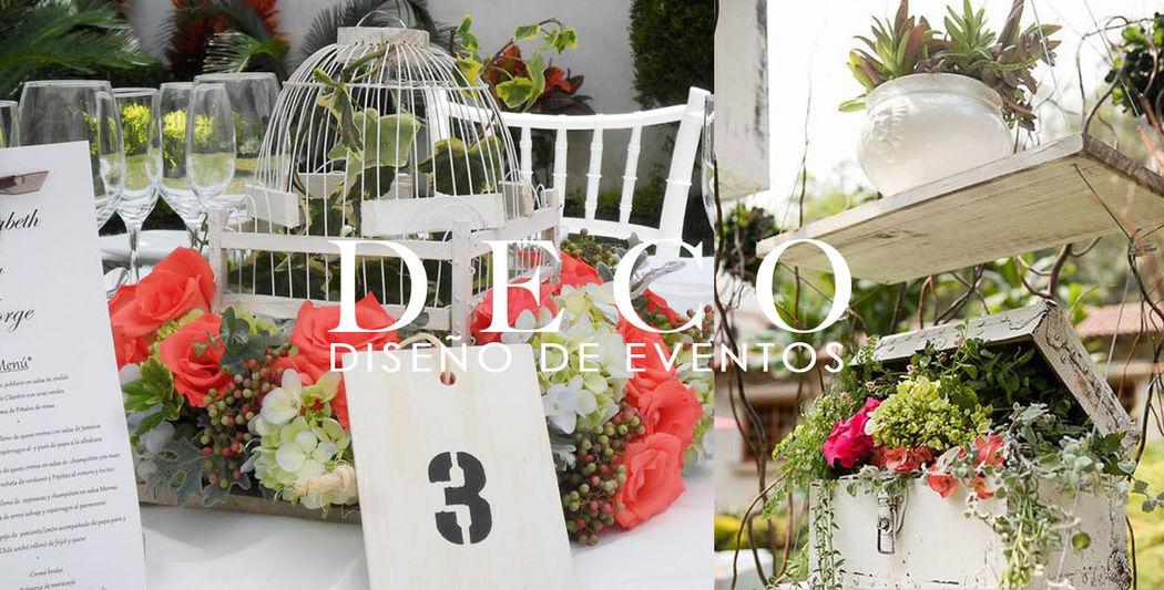 Centro de mesa bajo (izq.) , Instalación colgante para lounge (der.) en La Cañadita por DECO diseño de eventos