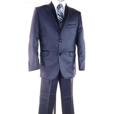 Costume de cérémonie bleu garçon, veste, pantalon, chemise, gilet, cravate, mariage du 18 mois au 16 ans