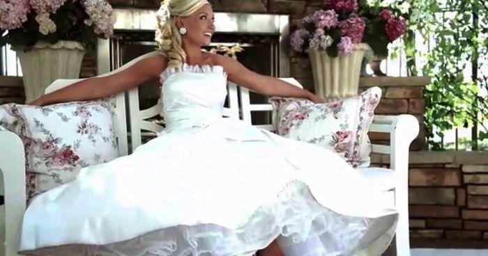Beispiel: Wunderschöne Hochzeitskleider, Foto: Kleiderverleih Rottenberg.