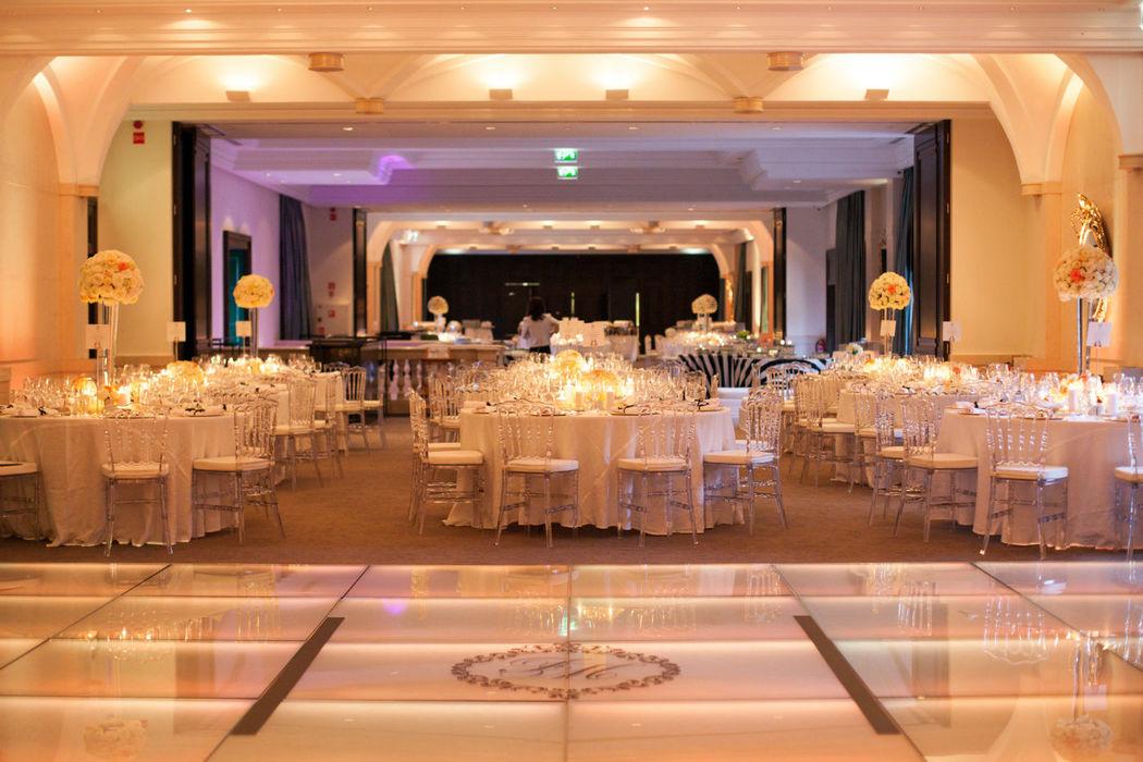Enchanting Ballroom for a B&W themed wedding.