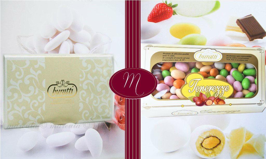 Confetti Buratti. Assortimento Classici con mandorla Avola. Tenerezze alla frutta. Cioccolato.