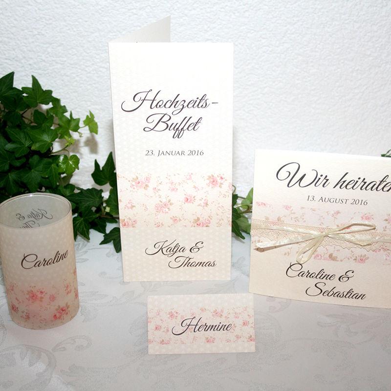 Cela-Design Kartenset Streublümchen im Vintagestil mit Einladung, Buffetkarte, Tischkarte & Teelicht-Gastgeschenk
