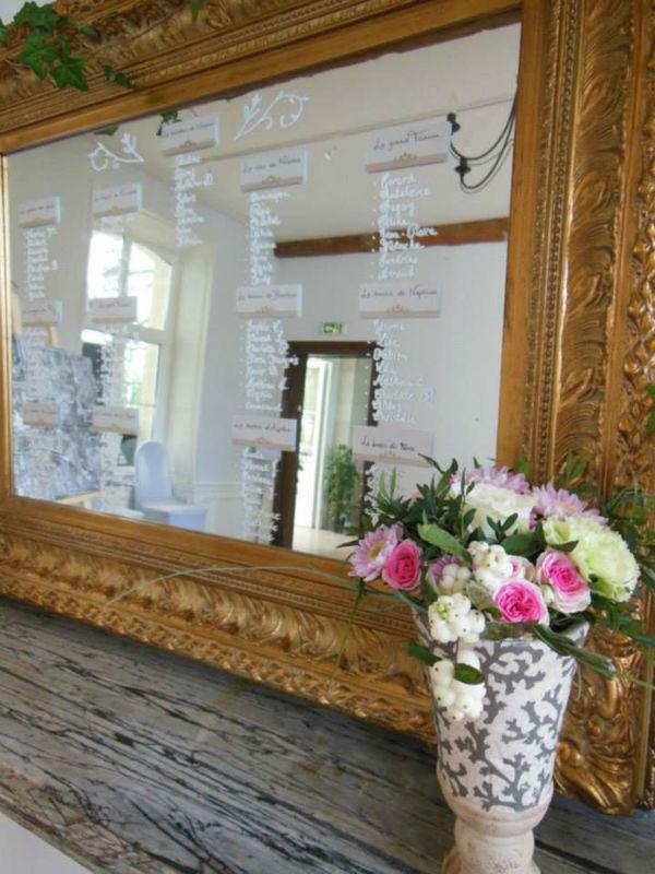 Plan de table sur miroir