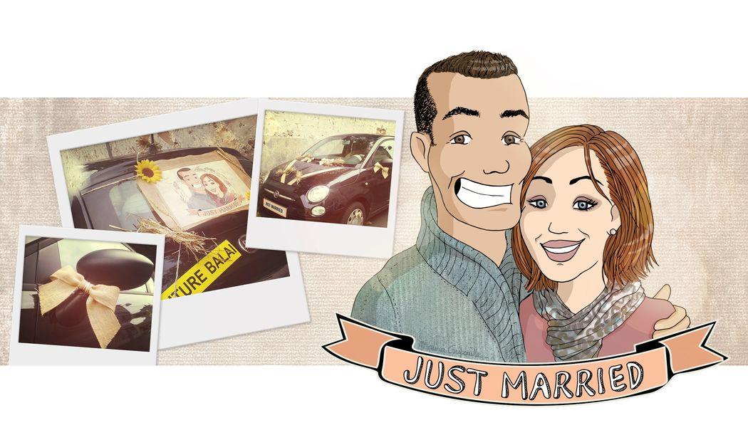 Tableau illustré « Just Married » pour voiture balais - Marina Gri