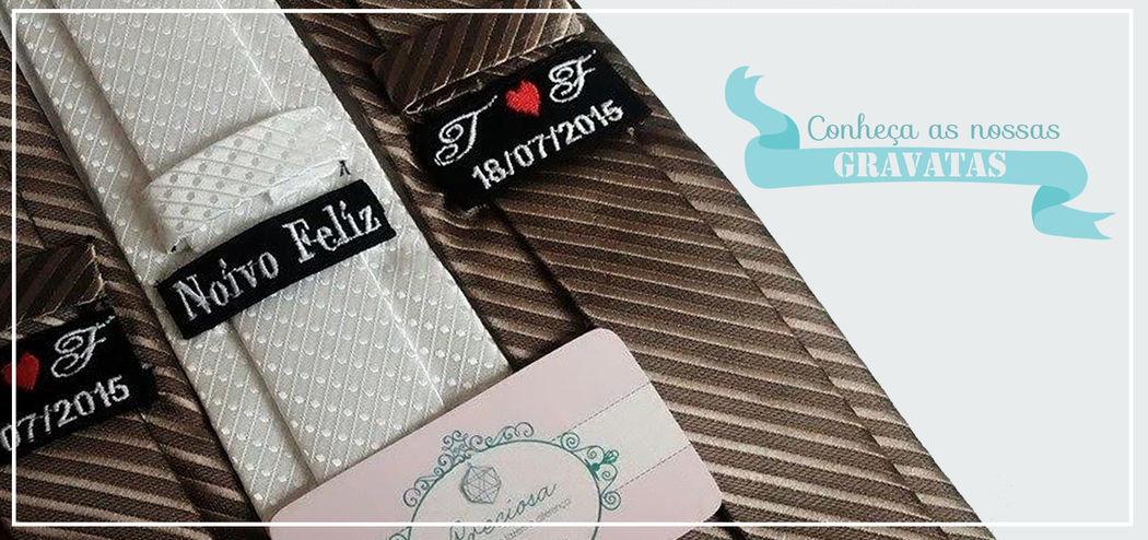 Gravatas com etiquetas personalizadas !  Preciosa Detalhes