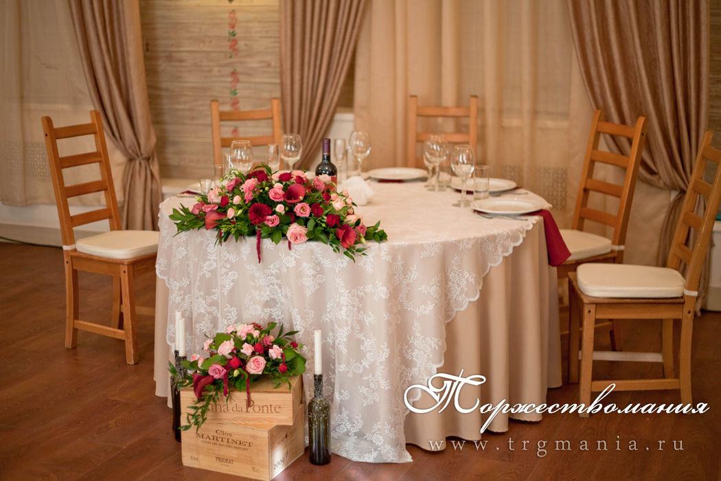 оформление стола в рустике от студии декора и флористики торжествомания