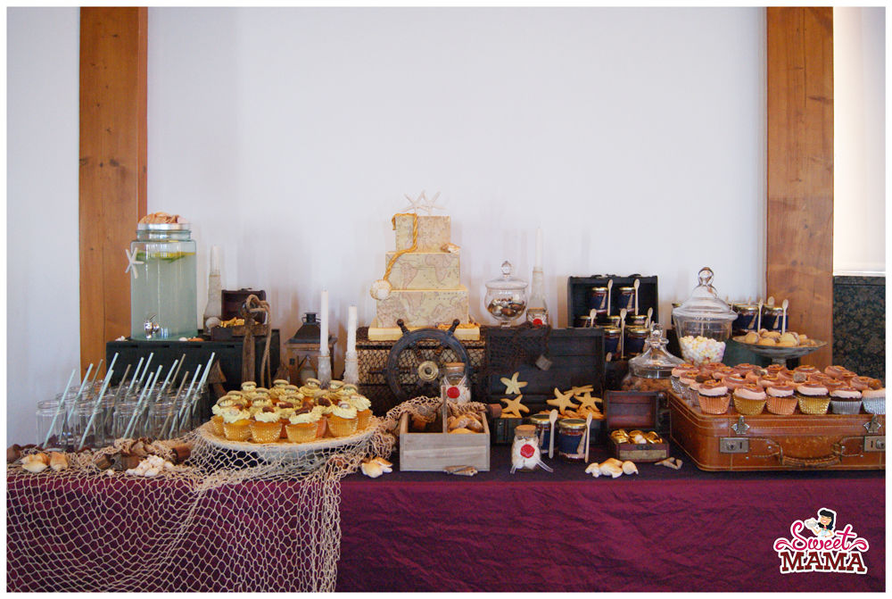 Mesa dulce con temática marina para la boda de Brenda y René en Sitges.