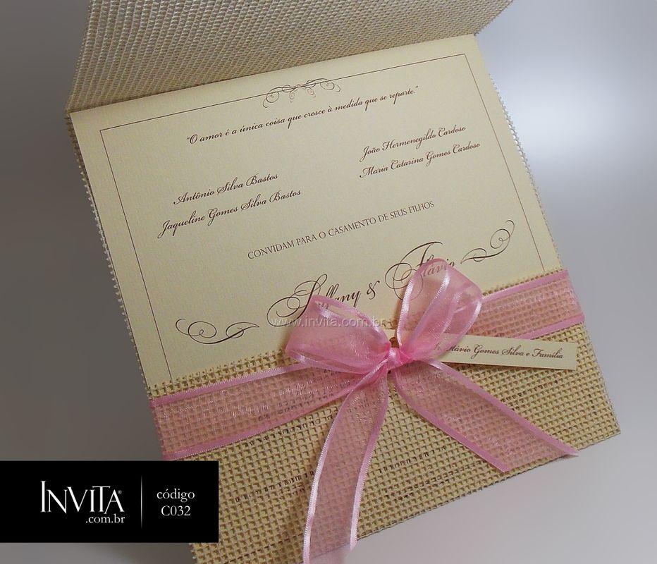 Convite de Casamento Rosa - Cód.: C032