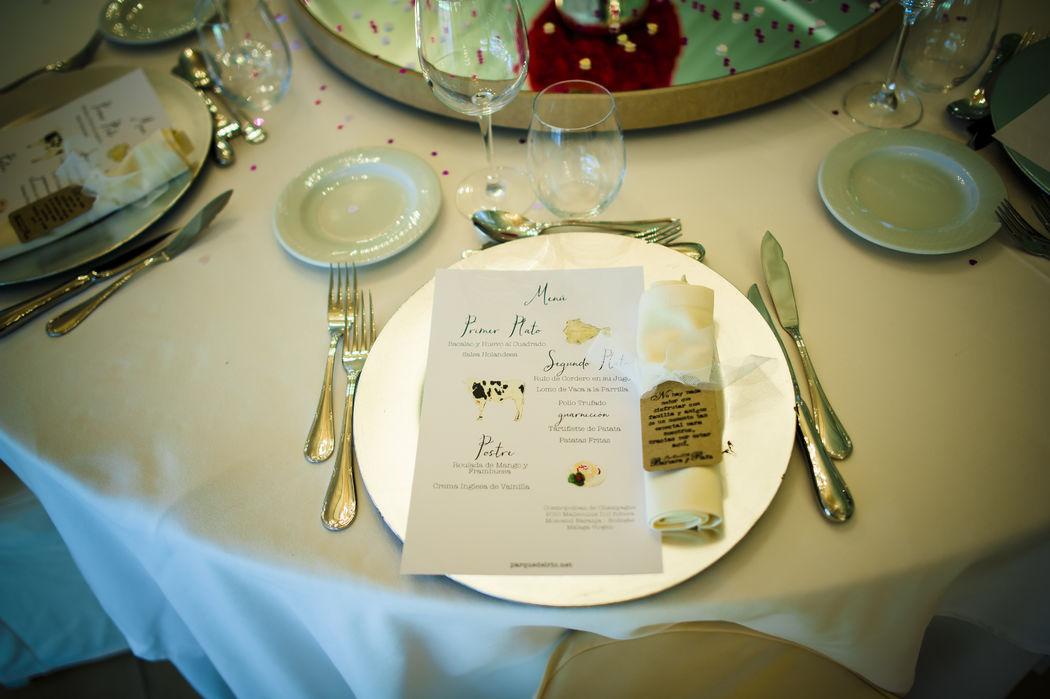 Menús de boda con diseño personalizado