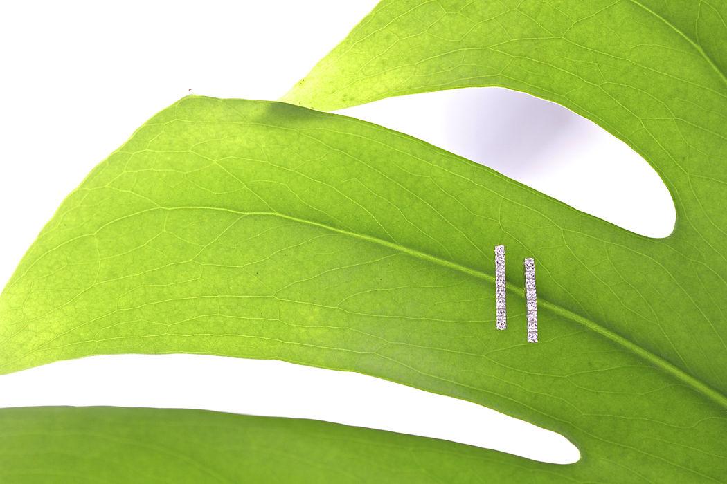 Afew Jewels - Pendiente Uppsala 18K Oro Blanco + 0.28Ct Brillantes Blancos