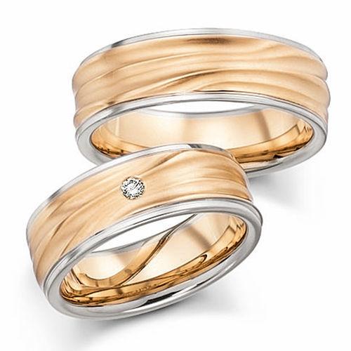 Beispiel: Trauringe - Weissgold mit Diamant, Foto: Designer Diamonds München.