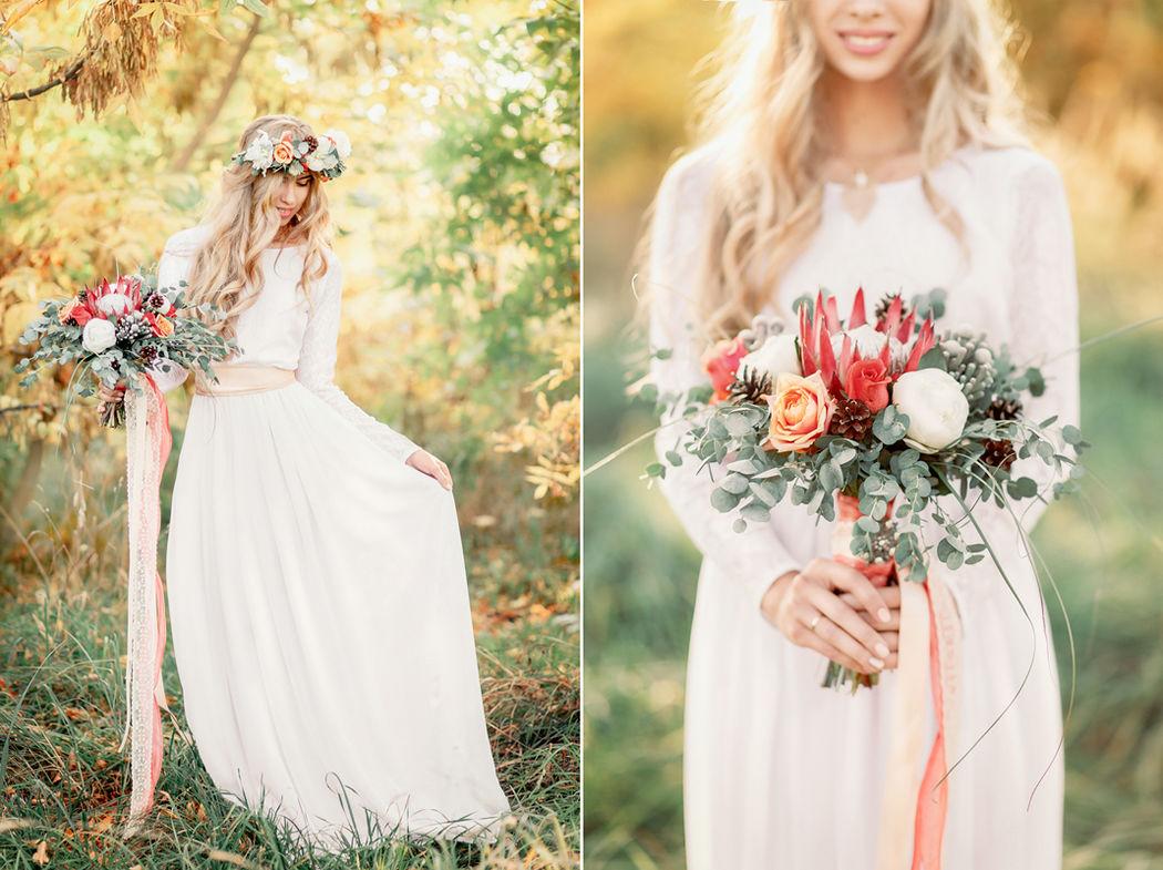 Невеста с красивым букетом в осенней тематике