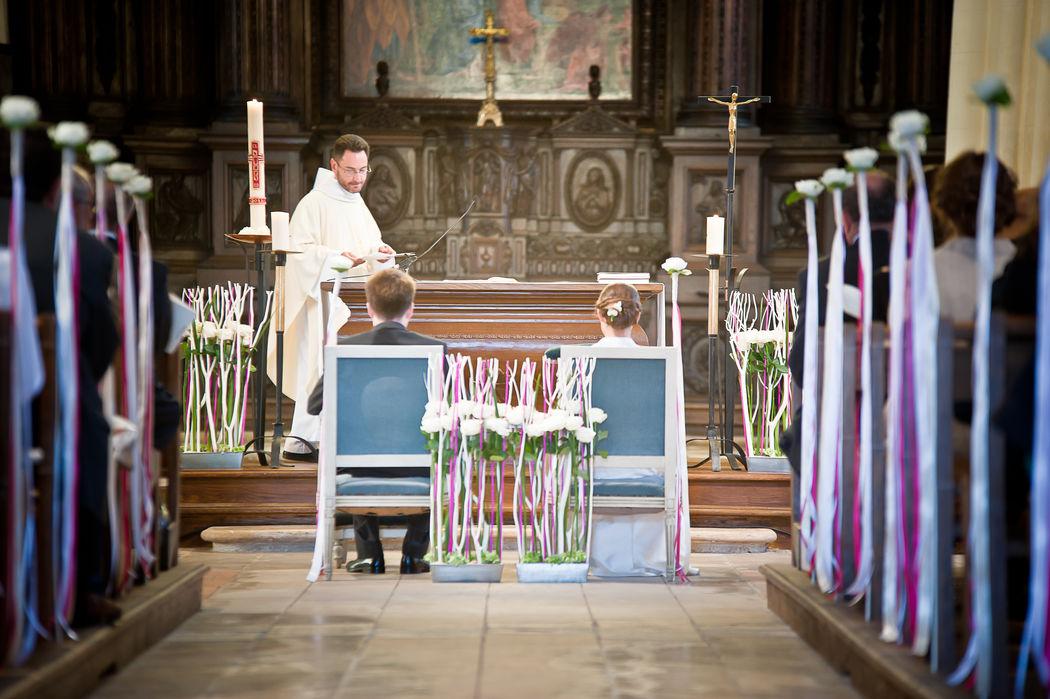 Décoration d'église/rose et blanc/Estelle Leclerc