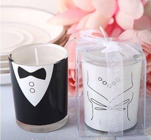Velas de frac y novia,  ideales para que tus invitados se lleven un lindo detalle de ese día tan especial,