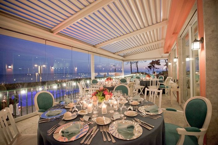 Wedding Reception Set Up in Restaurant Sea view Terrace