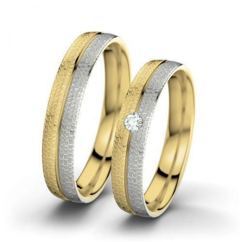 Voorbeeld: Cathrine & William - Palladium, geelgoud (hamermat), Foto: 21 Diamonds.