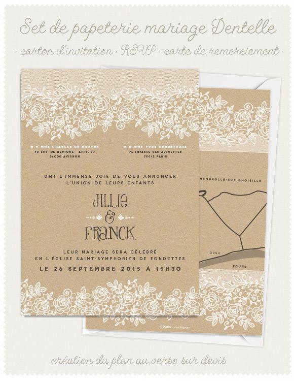 Faire-part de mariage Dentelle et Kraft Dioton.fr