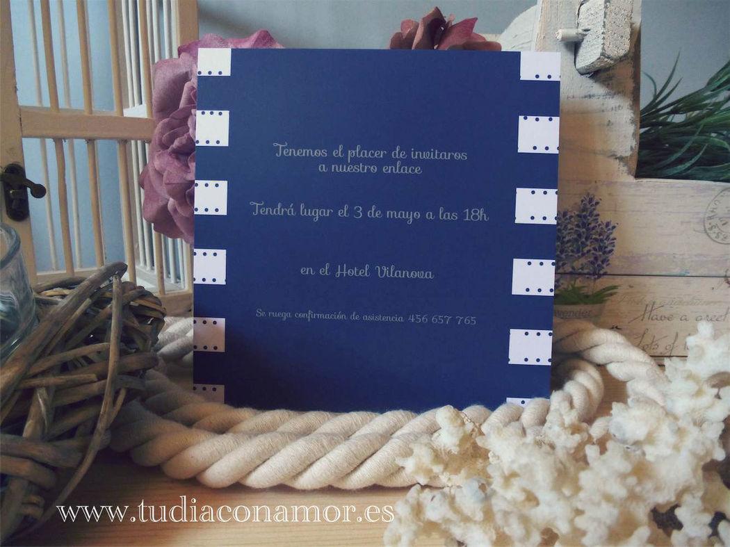 Invitación de boda de estilo naútico