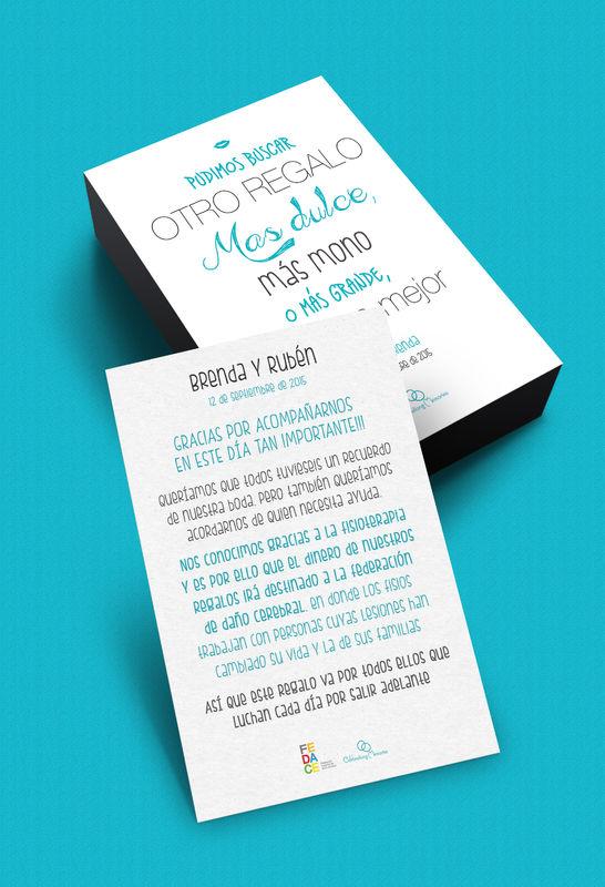 Tarjeta detalle para regalar el día de la boda