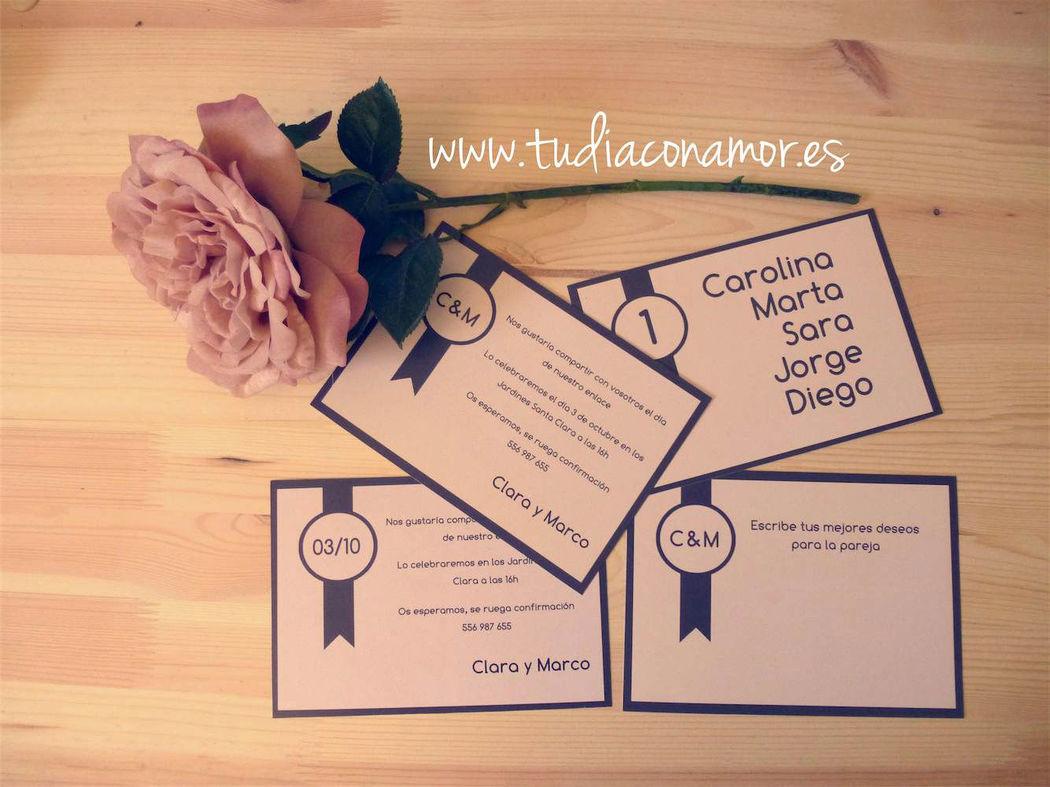 Papelería de boda sencilla y elegante
