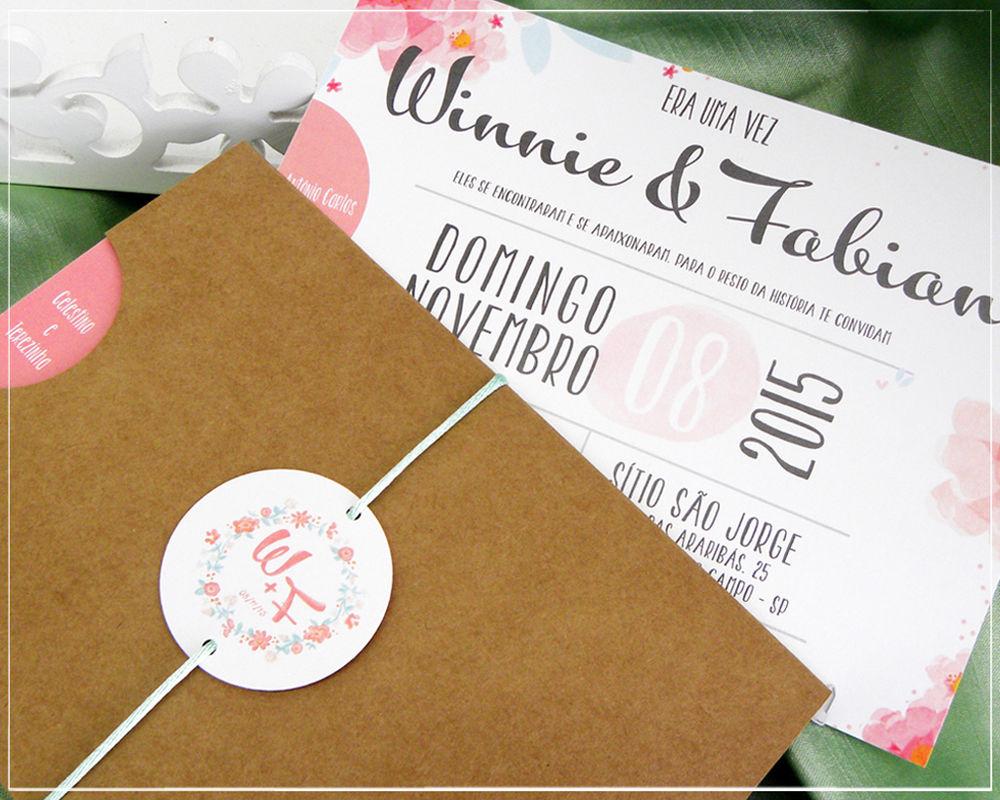 Convite Aquarela Floral | Giselle Branco