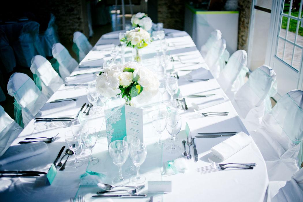 Décoration de table de Mariage, ton Menthe par Swingchaises