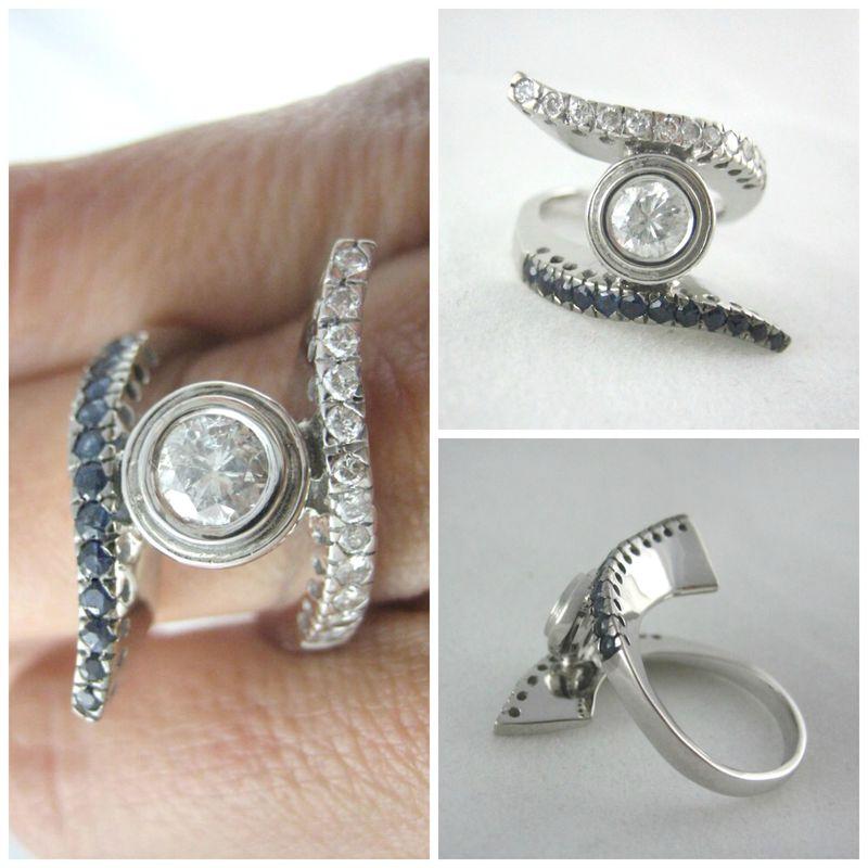 El mismo modelo con diferentes materiales cambia por completo! Esta versión es de oro blanco con diamantes y zafiros.
