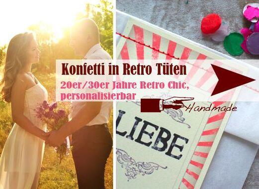 Konfetti Tüten im Retro Look - Handmade - LoveLi Hochzeitsplanung Onlineshop