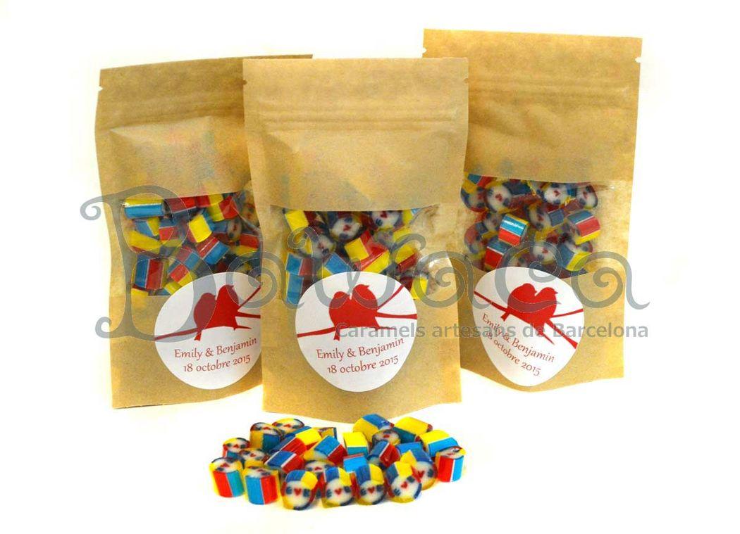 Caramelos personalizados en bolsa de craft de 50gr
