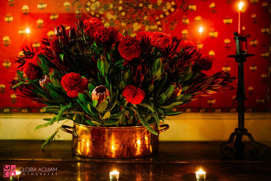 arranjo floral no castelo