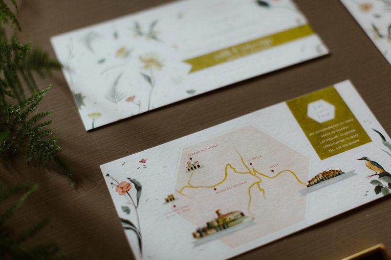 Mappa: illustrazione personalizzata, tema botanico - foto di Erin & Gabri Photography