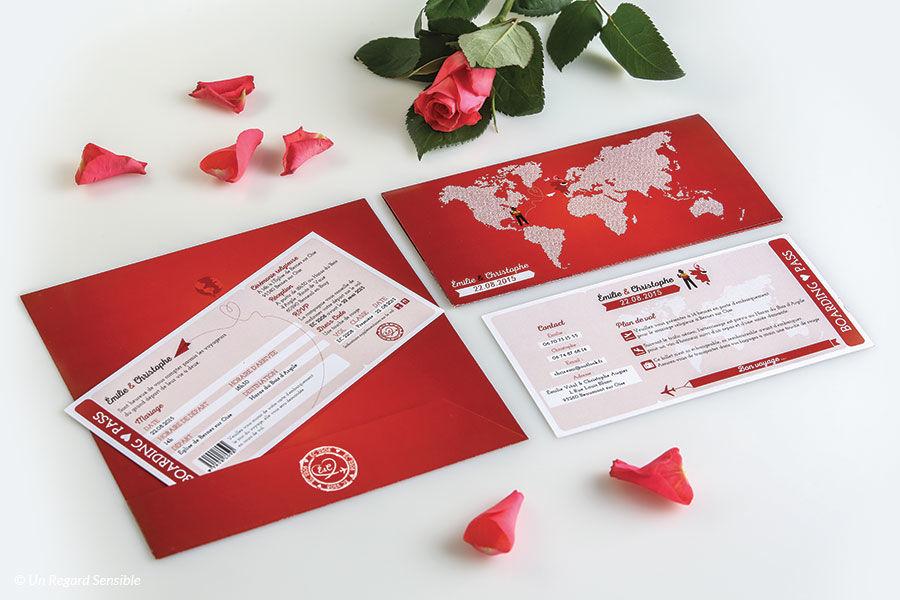 Titeperrine Faire-part billet d'avion, tons rouge et blanc