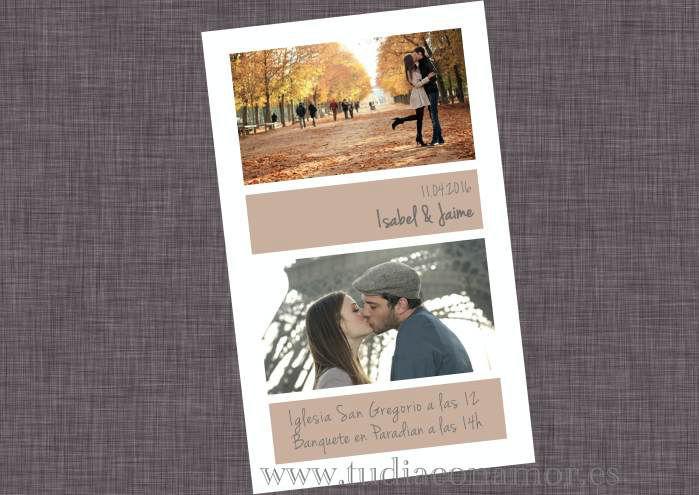 Invitación de boda con fotografías
