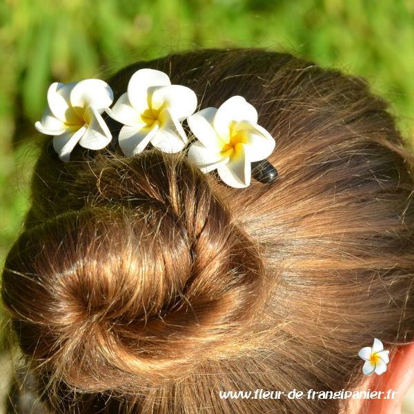 Peignes ornés de 3 fleurs de frangipanier de 4 cm. Nombreux coloris disponibles.
