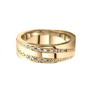 Verse Joaillerie | Alianças de Casamento, Anéis de Noivado Anel largo de ouro amarelo com diamantes - FRISSON
