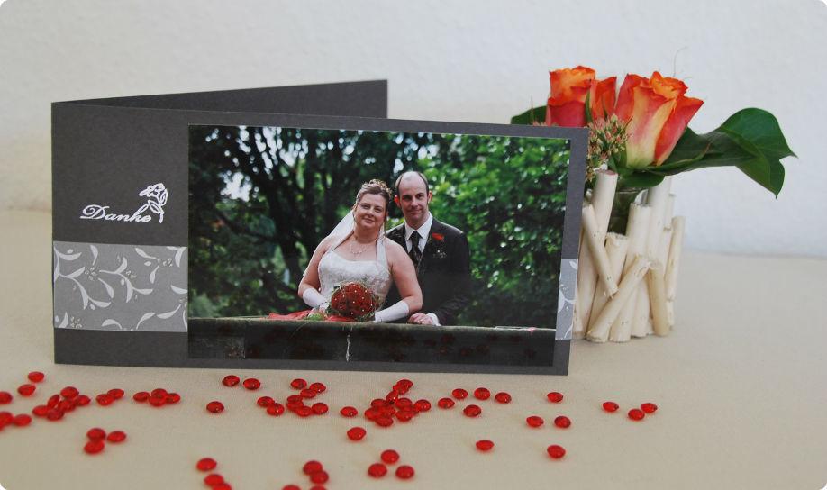 Beispiel: Danksagung mit Foto, Foto: Cardlove.de.