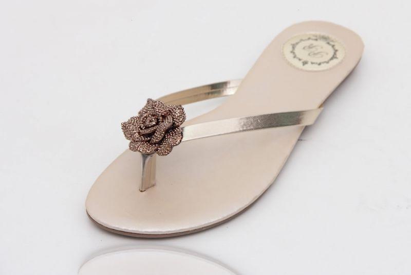 Slim Vip Ouro Light com flor de resina Rosê