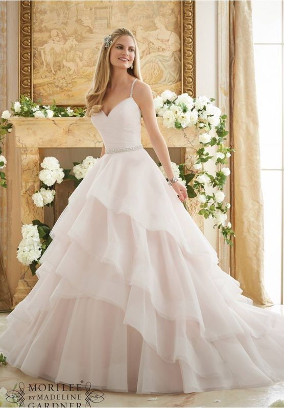 Wedding Dress OLEV   Crystal Beaded Straps on a Billowy Tulle Ball Gown  Available in Three Lengths: 55 , 58 , 61 . Colors Available: White, Ivory, Ivory/Blush