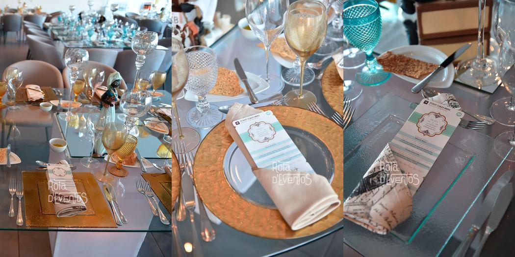Decoração personalizada das mesas