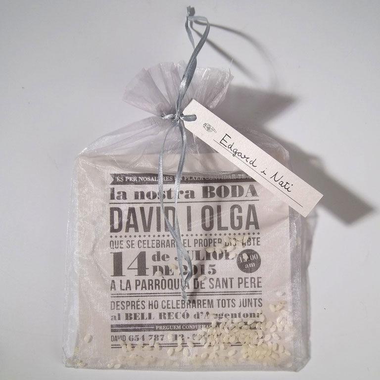 Tarjetón Woody Allen vintage con bolsita y arroz