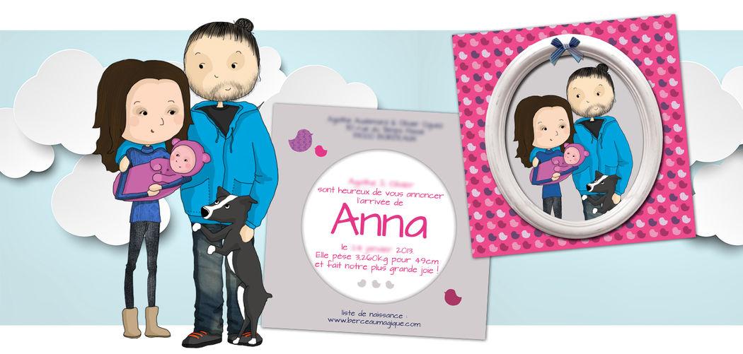 Illustration personnalisée faire-part de naissance - Marina Gri