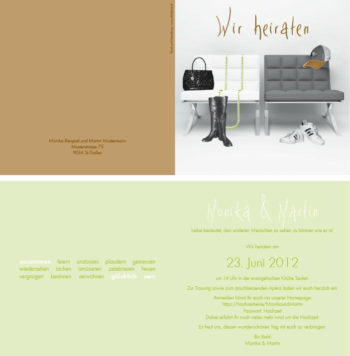 Hochzeitskarte quadratisch 4-seitig, 15,5x15.5 cm., 3-farbig. Foto: AKHOF-Print AG.