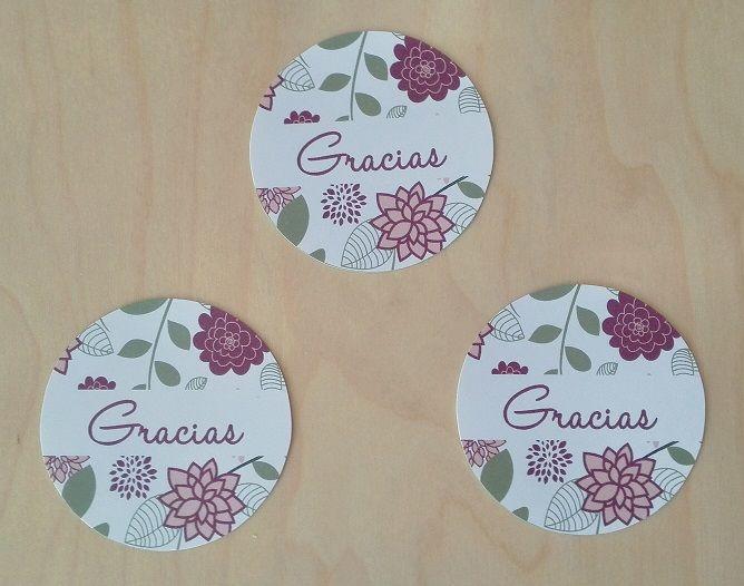Etiquetas de agradecimiento Motivo: Flores Color: Marsala (morado)